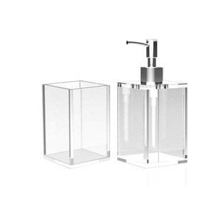 2 Piece Set Modern Hospital Bathroom Kitchen Acrylic Shower Foam Soap Dispenser, Toothbrush Makeup Storage Bottle Holder