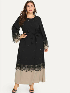2020 New Design Ladies Women Black Pearl Abaya Dubai Islamic Clothing Maxi Dresses For Muslim
