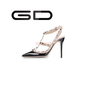 Apricot color circle rivet design high heel women dress shoes manufacturer