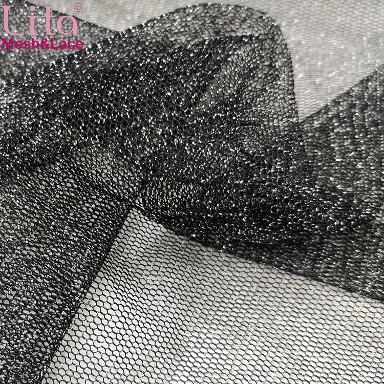 Lita J002240-1# 100% nylon hexagonal mesh fabric with silver glitter yarn good quality shinning net fabric