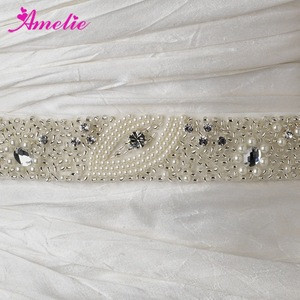 Bridal Beaded Sash Belt Pearl And Rhinestone Accessories Wedding Belts For Party