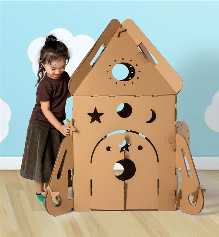 Custom Big Corrugated Paper House Shaped Pretend Play Toy Models Doll  Kids Educational toy