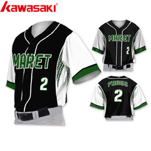 Custom Sublimated striped full buttons Softball Baseball wears