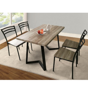 Dinning room furniture stainless steel dining tables set and 4 chairs for home