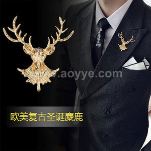 European and American ornaments antique long-horned deer brooch Pacific bird moose head brooch lucky alloy broach pin