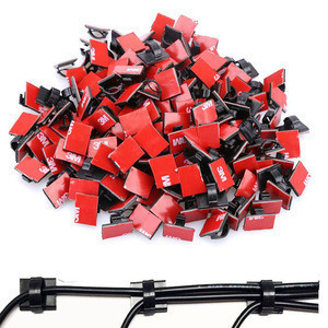 New Car Interior Decoration Wiring Accessories Red 3M Sticker Cable Clips for Finishing Charger Line Wire 3m Adhesive Cable Clip