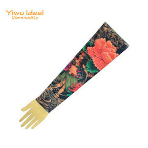 Novelty Women Spandex Colorful Flower Tattoo Sleeve