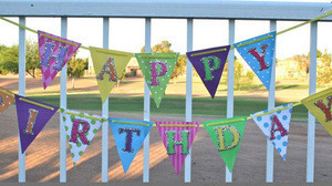 Rainbow party supplies diy happy birthday foam banner toy checkered flag