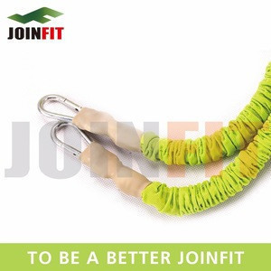 Resistance training rubber bungee cord with metal clips