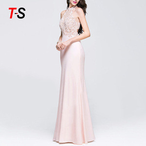 Self-cultivation Sexy Cut-out Sleeveless solid long lace lady evening dress