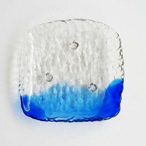 Square Shape Clear And Blue Glass Dish For Sushi Or Appetizers