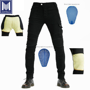 Stock price men gear motorcycle jeans trouser pants with CE approved protections with aramid fiber fabric lining