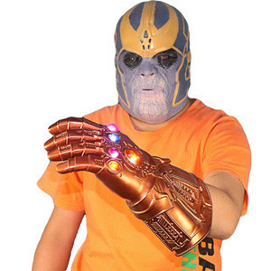 The Avengers Infinity War Thanos Mask with led Gauntlet Glove Halloween Costume Party Props