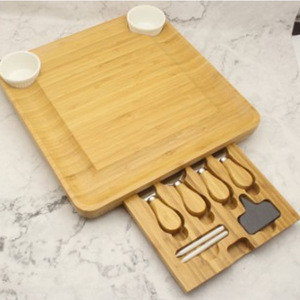 Top Quality Cheese Board and Cutlery Set Unique Bamboo Plate and Serving Tray