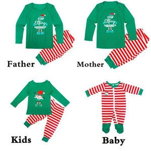 Wholesale Customize Cotton Stripe Family Christmas Pajamas