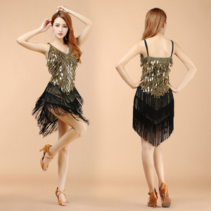 Woman shiny latin dance dress ballroom dance tassels dress