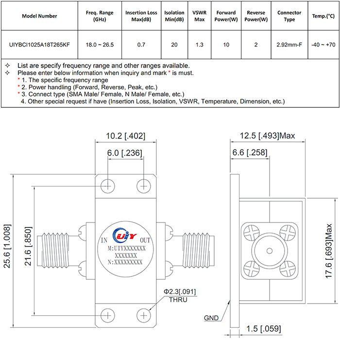RF Isolator Coaxial Isolator Drop in Isolator 18.0~26.5GHz, 26.5~40.0GHz