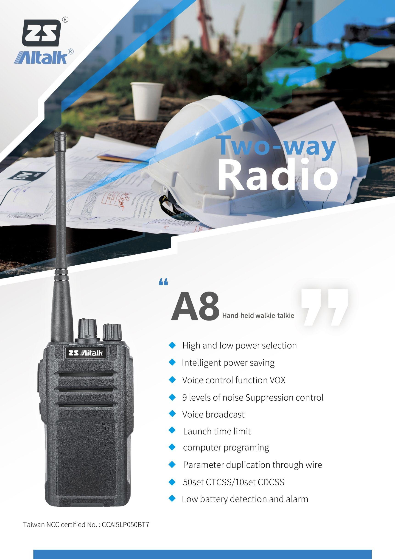 AiTalk- A8 Walkie Talkie | Long Range 2 Way | 16 ch 400-512mhz UHF Ham Radio