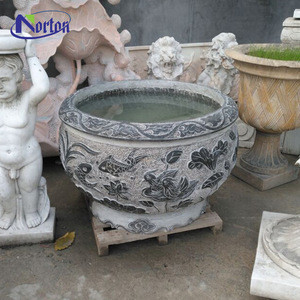 2020 Chinese style design large outdoor garden decoration stone planter round grey marble flower pot for sale