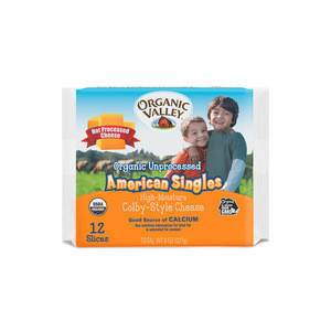 American Singles Cheese-Unprocessed Organic Valley Cheese Slices