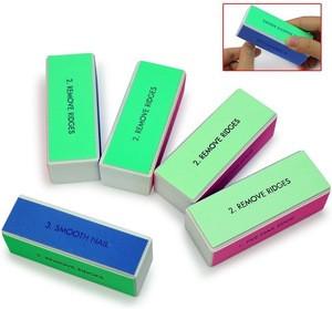 BONNO Hot Sale Custom Printed Professional Cuboid  Nail File Art Buffer 4 Ways Sanding File Block Manicure Product