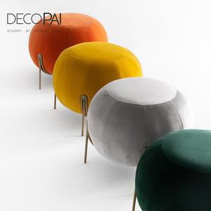 Modern designer round upholstery velvet metal frame living room ottoman stool