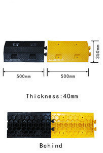 Reflective Durable High-strength plastic speed hump Length 500mm  Width 350mm,  Height 40mm traffic speed bump