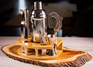 Svin Factory Price Cocktail Shaker Bar Set with Bamboo Stand
