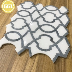 Water jet marble mixed glass artist mosaic marble stone mozaic tile