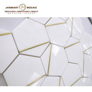 White Marble Tile Luxury Marble Hexagon Glass Mosaic Stone Watejet Mosaic Marble Golden Select Mosaic Wall Tile Ceramic Bathroom