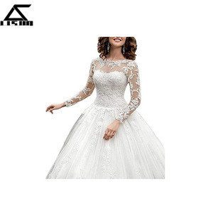 WomenS Scoop Lace Ball Gown Bridal Gowns Long Sleeve Wedding Dress