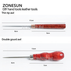 ZONESUN Patchwork DIY Manual Leather Tool Wooden Handle Sewing Awl Stitcher Leather Craft Canvas Tent Sewing Needle Kit Tool