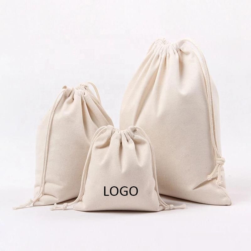 High quality custom printed small canvas cotton muslin drawstring bag