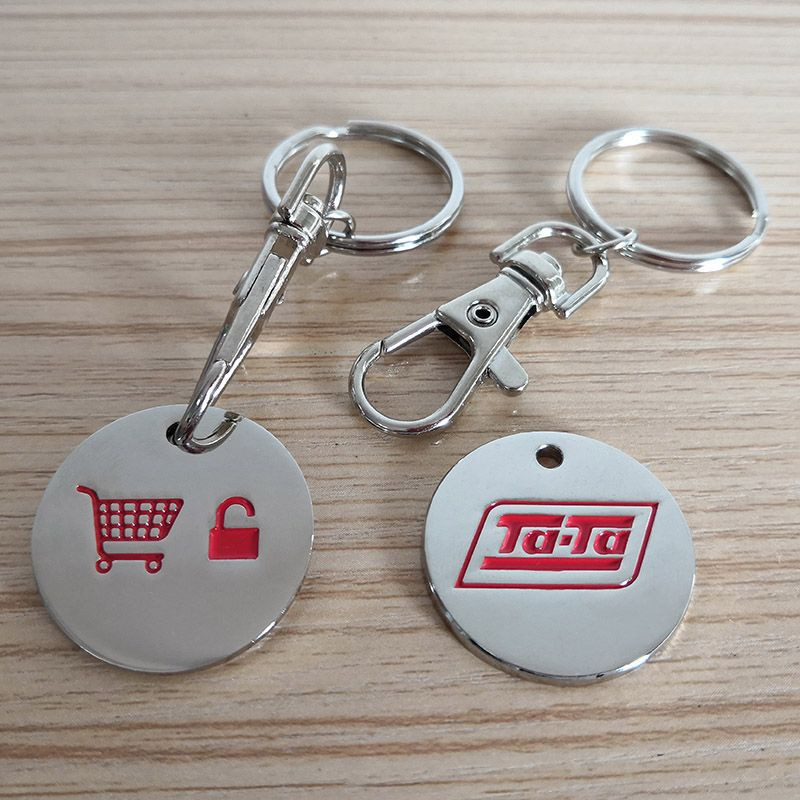 Personalized Ad Enamel Logo Shopping Cart Holder Keychain, Trolley Coin Keyring with High Quality
