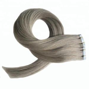 100% human virgin hair Ash gray tape in hair extensions