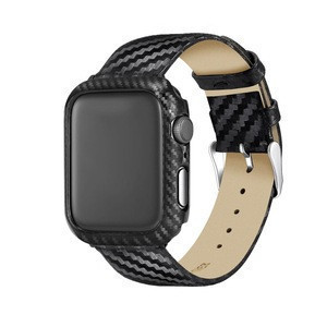 38mm 40mm 42mm 44mm Interchangeable Carbon Fiber Watch Band Replacement For Apple Watch Band Leather