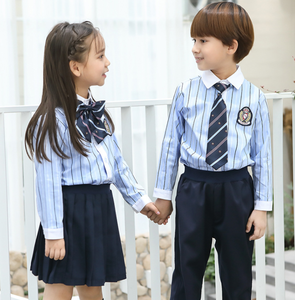Custom school formal uniform for kids primary school uniform with tie  for teenager embroider middle school uniform for unisex