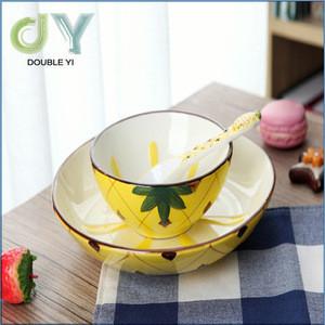 Customized/wholesale unique cute children ceramic various fruits shaped tableware