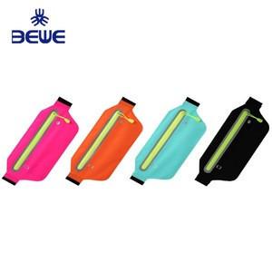 Factory 4 Pillar Adjustable elastic neoprene waterproof fitness colorful fanny pack belt running sports waist bag