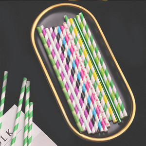 Hot sale high quality flower fruit printed bubble tea paper straw drinking 10mm