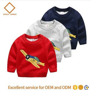 Little boys pullovers sweater knit aircraft Embroidery pattern pure cotton autumn children sweater