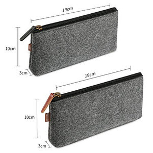 Multi-Functional Felt Pouch Zipper Bag for Pens, Pencils, Highlighters, Gel Pen, Markers and other School Supplies -2 Pack