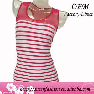 Newest Design Wholesale 100% Cotton Tank Top Colorful Stripes Women Sexy Camisole 2016 Crop Top