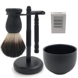 Simple Shaving Set Wood Grain Handle Double Edge Safety Razor Badger Shaving Brush Safety Razor Stylish Stand for Barber Saloons