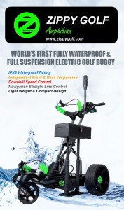 Zippy Golf manufacturing world's first fully waterproof & full suspension remote control golf trolley hot selling