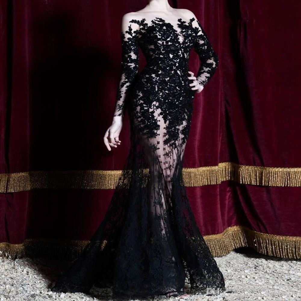 Sexy 2020 Black Appliques Lace Long Sleeves Evening Dresses See Through Formal Party Gowns Long Prom Dress Special Occasion Dubai Gala Dress1