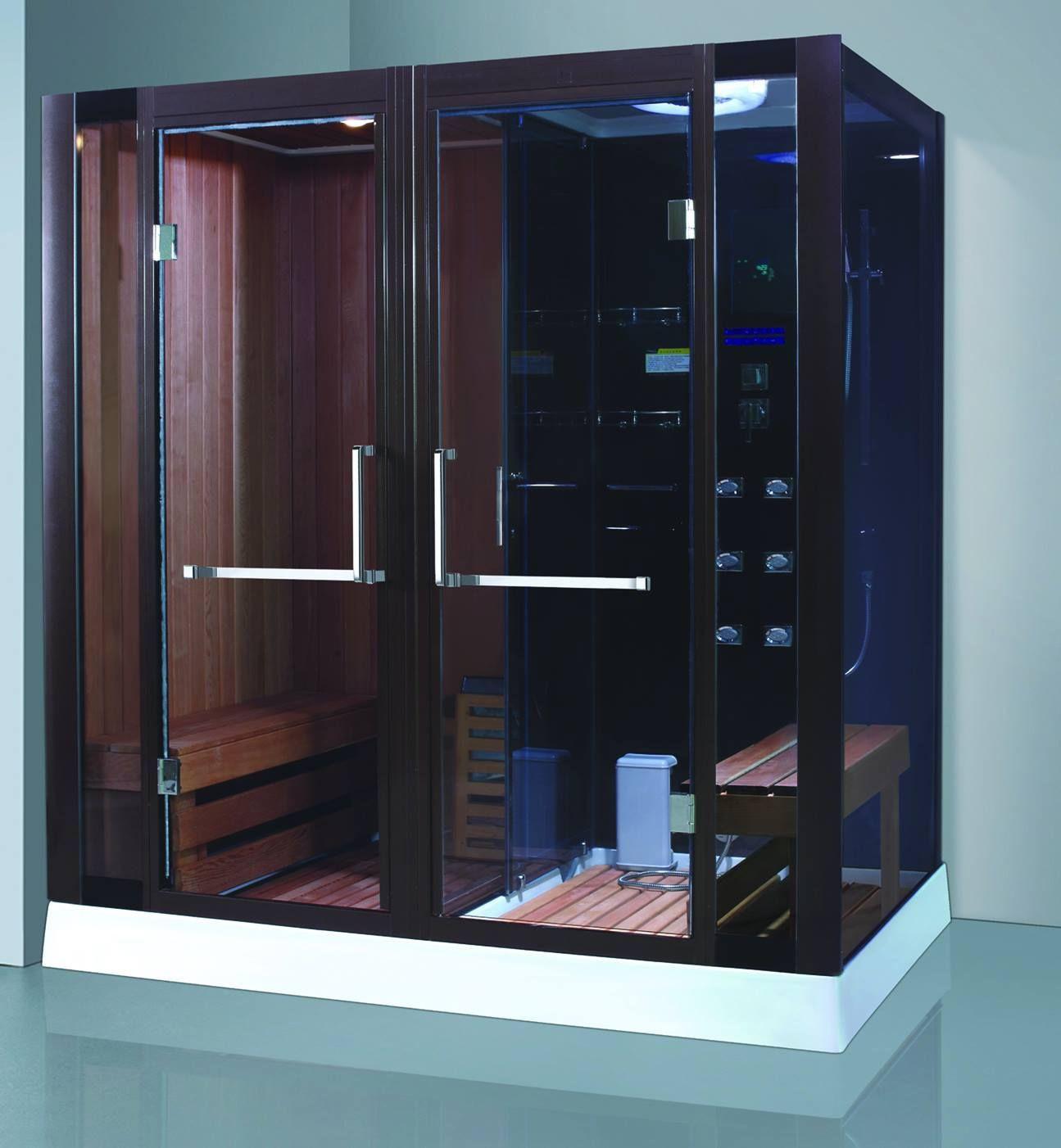 Indoor bathroom Dumb black SS304 frame glass door far infrared sauna shower combination wooden corner sauna room