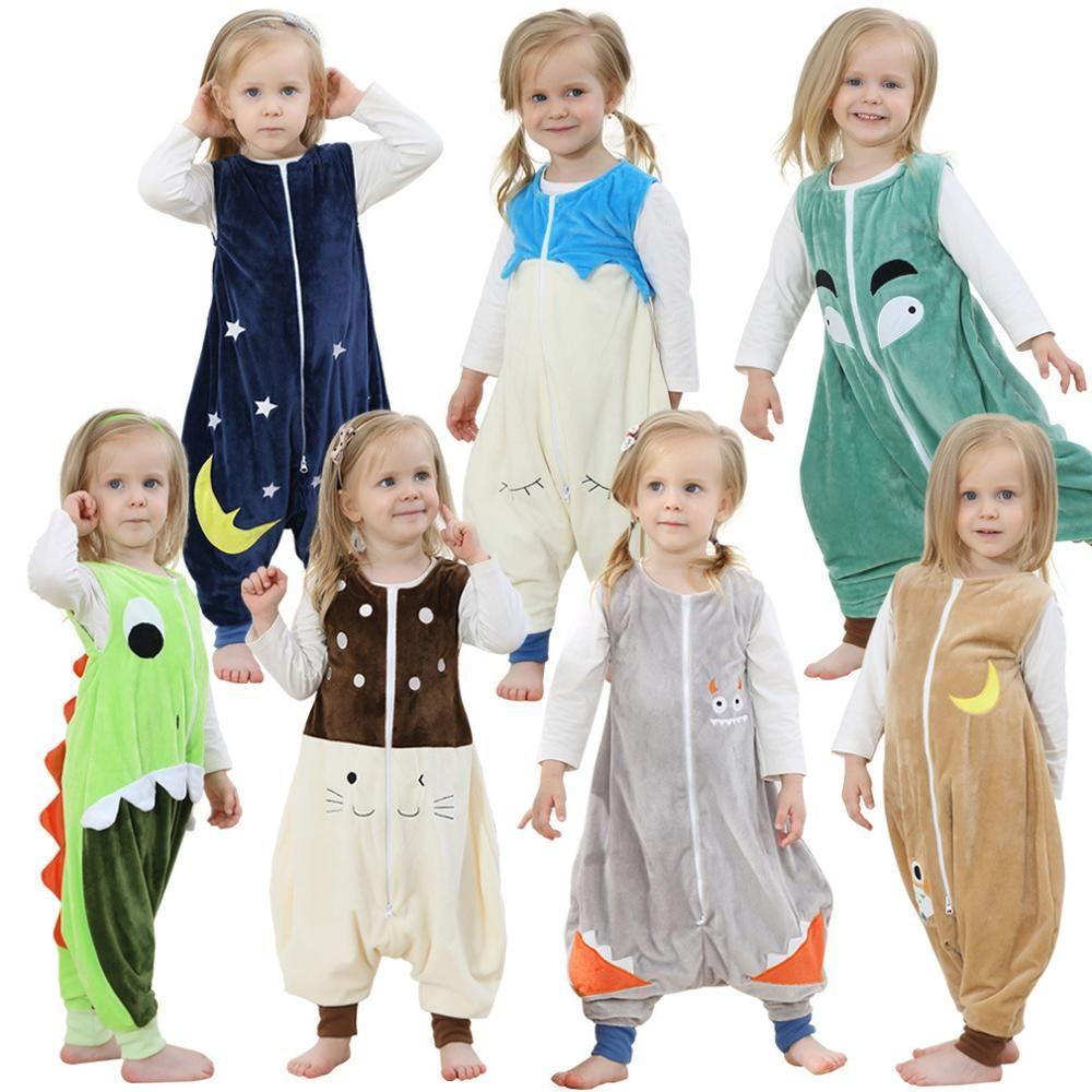 Kids Feet pajamas Flannel Robe Warm Sleepwear Children Overalls Prevent Halloween Christmas Baby Blanket Sleepers Animal Rompers