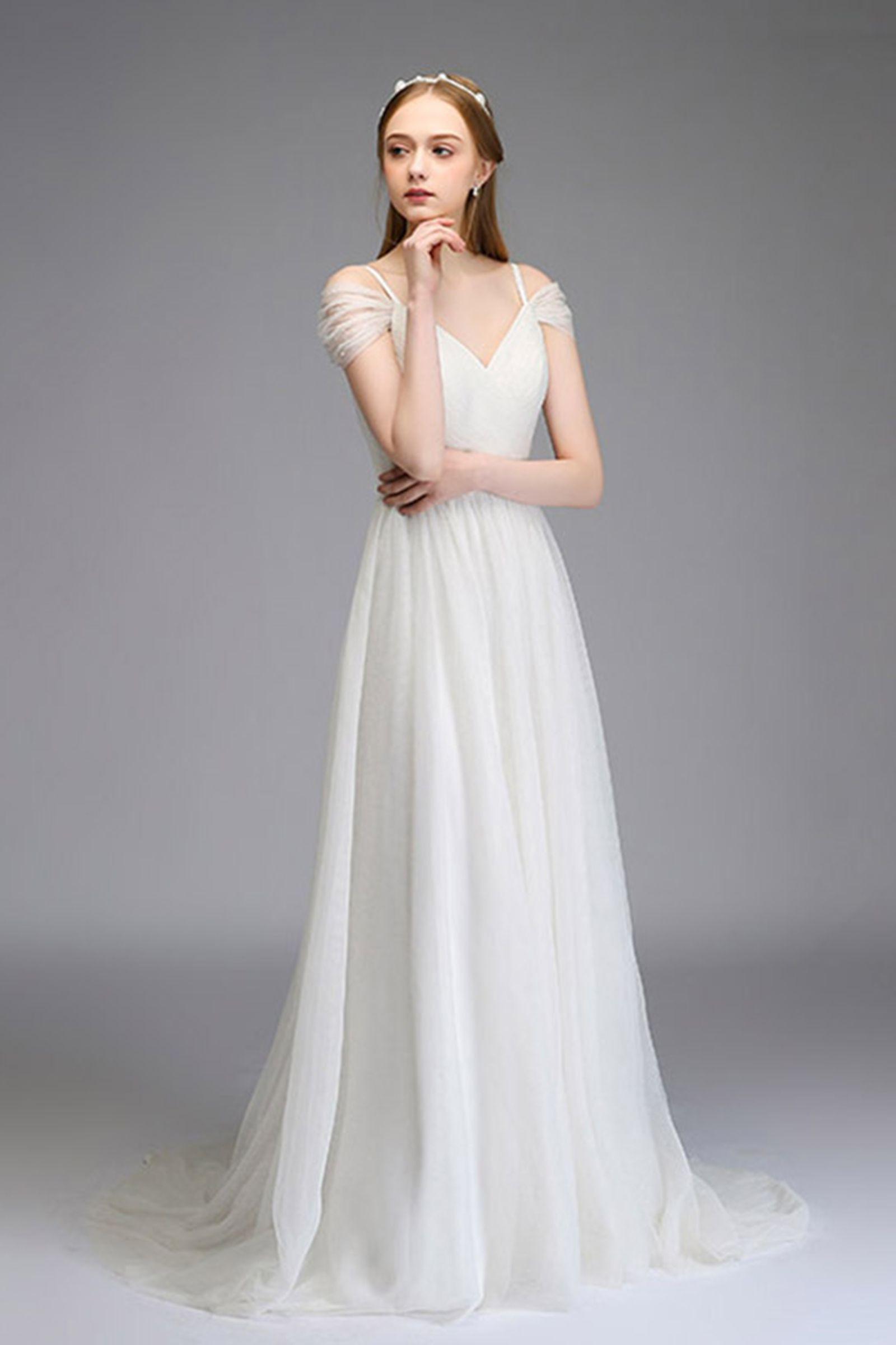 White Cross Sleeves Wedding Dress