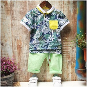 2017 Fashion summer baby boy clothing sets floral short sleeve shirt+pants 2pcs outfits 2-6years cotton kids boy clothes sets